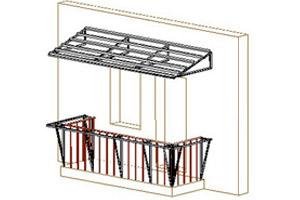 Этапы работ: каркас крыши и выноса на балконе