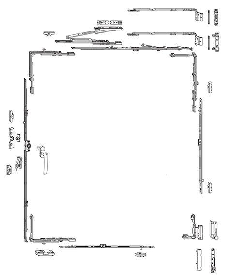 Схема фурнитуры Roto NT